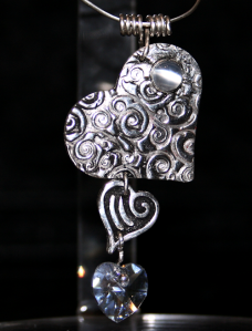 PMC fine silver hearts with swarovski crystal heart